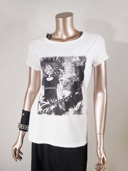 ◎新商品★R-LONDON★ギター&ロックガールロールアップスリーブTシャツ