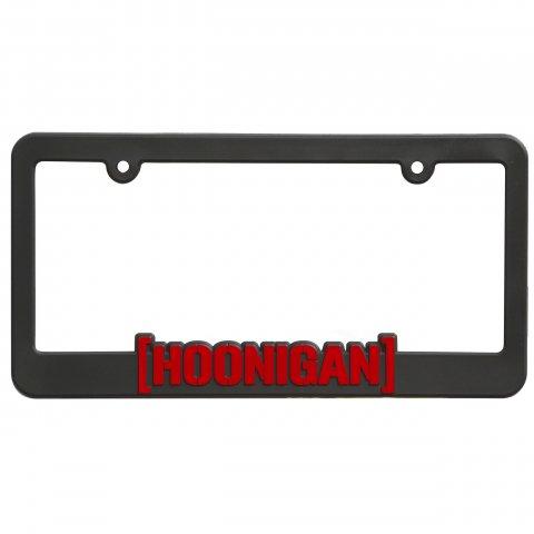 HOONIGAN  BRACKET LOGO PLATE FRAME BLACK/RED