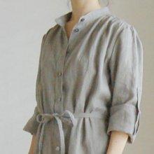 【発送】スタンドカラーのシャツワンピース