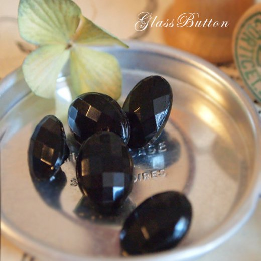 チェコ製 ヴィンテージ ガラスボタン 単品販売【black-Prism】【画像3】