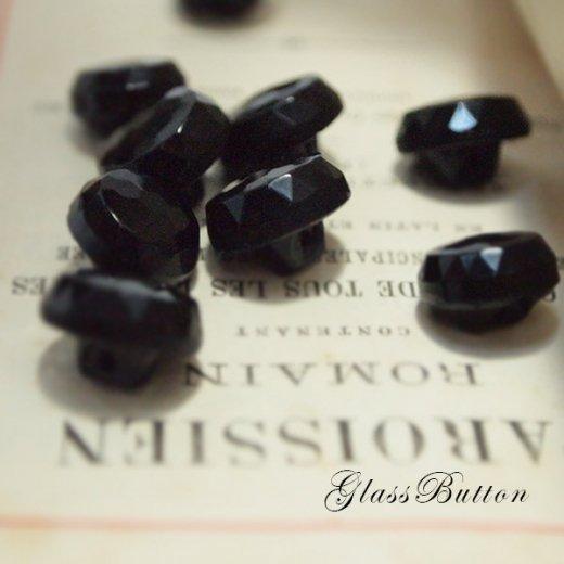 チェコ製 ヴィンテージ ガラスボタン 単品販売【black×Roundprism】【画像2】