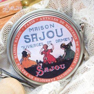 裁縫箱 フランス SAJOU ラベル缶 糸セット BTE-MET-11【ビビットカラー】
