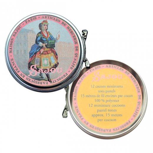 フランス SAJOU ラベル缶 糸セット【パステルカラー】【画像5】