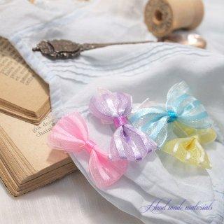 手芸用品 ハンドメイド 素材 きらきら オーガンジー リボン ハンドメイド素材【ストライプ】