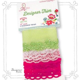 ポンポンリボン テープ Webster's  pages レース リボン テープセット 【 Pink 】ハンドメイド&リメイク素材