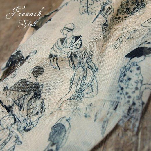 フランス モード雑誌モチーフ コットンスカーフ【ヌードカラー】【画像8】