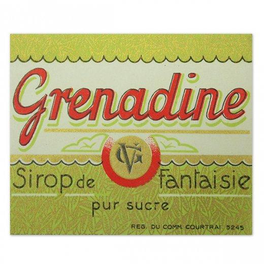 フランス ヴィンテージ シロップラベル【Grenadine sirop de fantaisie】