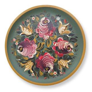 アンティーク ドイツ ヴィンテージ ハンドペイント 木製絵皿【rose バラ】