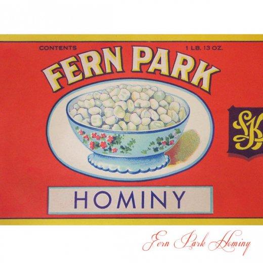 USA ヴィンテージ ラベル【Fern Park Hominy】