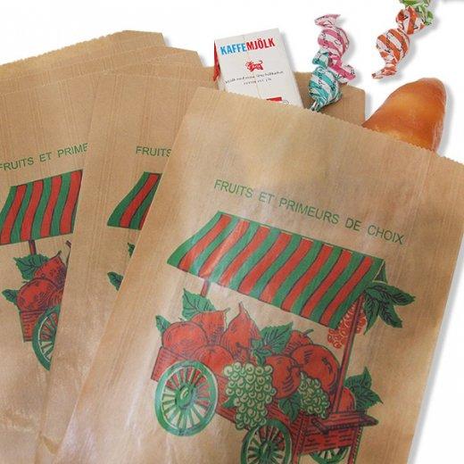 マルシェ袋 フランス 海外市場の紙袋(フルーツカートLサイズ)5枚セット【画像4】