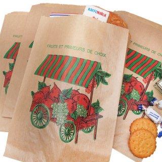手芸用品 ハンドメイド 素材 マルシェ袋 フランス 海外市場の紙袋(フルーツカートLサイズ)5枚セット