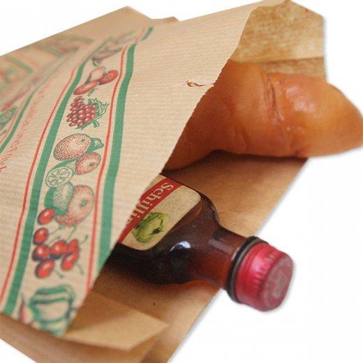 マルシェ袋 ドイツ 海外市場の紙袋(イラスト野菜・フルーツ)5枚セット【画像3】