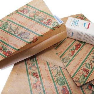 マルシェ袋 ドイツ 海外市場の紙袋(イラスト野菜・フルーツ)5枚セット