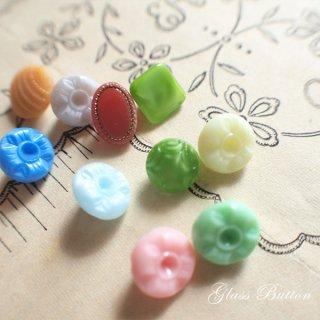 ボタン 手芸用品 チェコ製 ヴィンテージ ガラスボタン 10ヶセット【Mix-L】