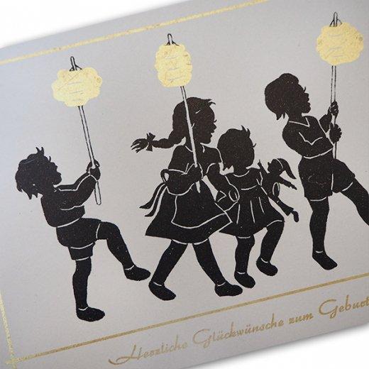 ドイツ ヴィンテージ ポストカード シルエット/影絵【誕生日おめでとう A-type 】【画像2】