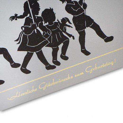 ドイツ ヴィンテージ ポストカード シルエット/影絵【誕生日おめでとう A-type 】【画像3】