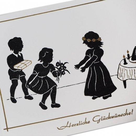 ドイツ ヴィンテージ ポストカード シルエット/影絵【誕生日おめでとう B-type 】【画像2】