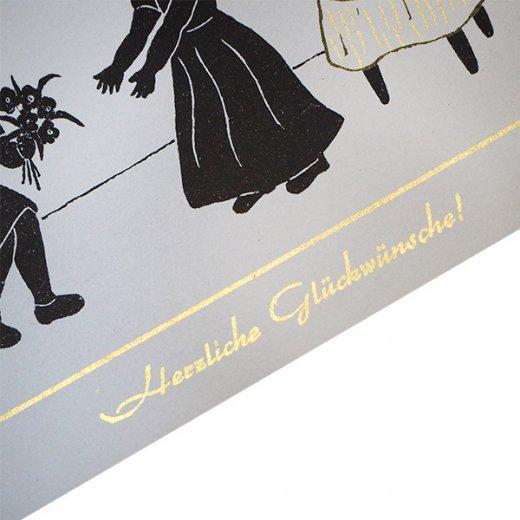 ドイツ ヴィンテージ ポストカード シルエット/影絵【誕生日おめでとう B-type 】【画像3】
