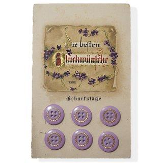 アンティーク ドイツ ヴィンテージボタン付き ポストカード【Geburtstage】