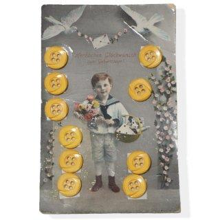 ドイツ ヴィンテージボタン付き ポストカード【Geburtstage B】