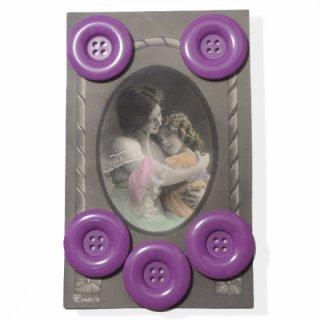 アンティーク ドイツ ヴィンテージボタン付き ポストカード【Purple】