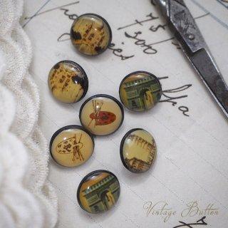 アンティーク イギリス ヴィンテージ ボタン 単品販売【建物と芸術】