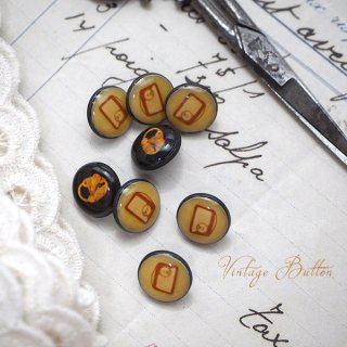 アンティーク イギリス ヴィンテージ ボタン 単品販売【錠前とラジオ】