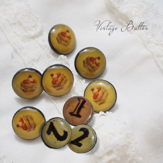 イギリス ヴィンテージ ボタン 単品販売【数字とスイーツ】