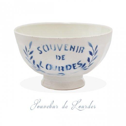 【送料無料】フランス アンティーク カフェオレボウル ルルドの泉 souvenir de lourdes leaf【直径9.5cm】