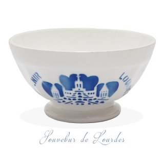 【送料無料】フランス アンティーク カフェオレボウル ルルドの泉 souvenir de lourdes leaf【直径10.6cm】