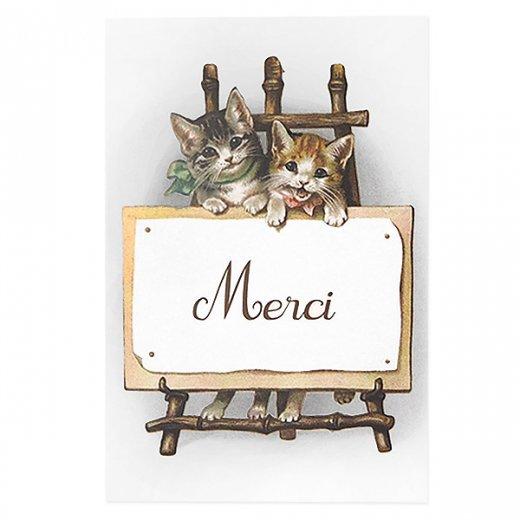 フランス ポストカード 猫 キャット (Merci)