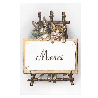 動物 アニマル柄 フランス ポストカード 猫 キャット (Merci)