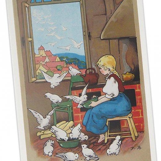 フランス ポストカード 小鳥と少女 (amis mignons)【画像2】