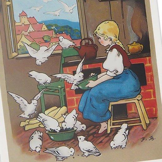 フランス ポストカード 小鳥と少女 (amis mignons)【画像3】