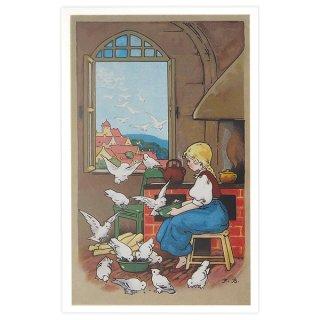 動物 アニマル柄 フランス ポストカード 小鳥と少女 (amis mignons)