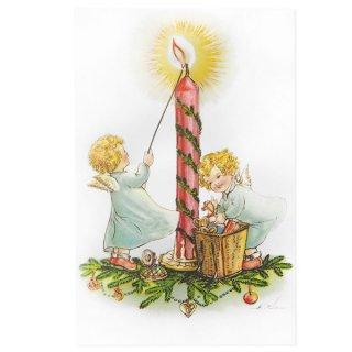 フランス クリスマス ポストカード 天使とキャンドル (Anges et bougies)