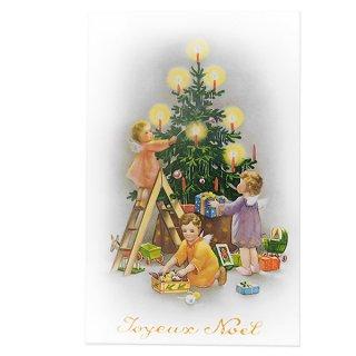 クリスマス フランス クリスマス ポストカード 天使とキャンドル2 (Anges et bougies2)