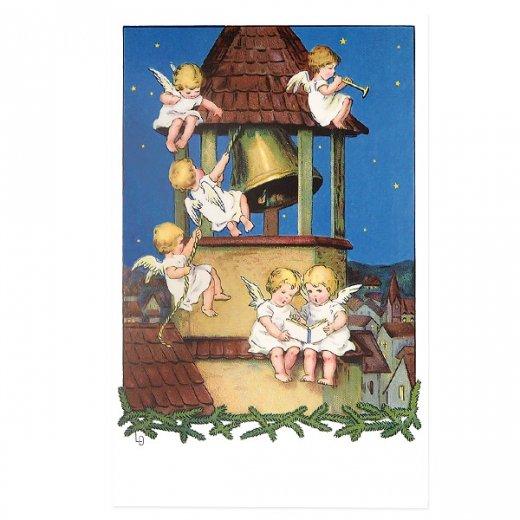 フランス クリスマス ポストカード 教会の鐘と天使 (Les anges et les cloches)