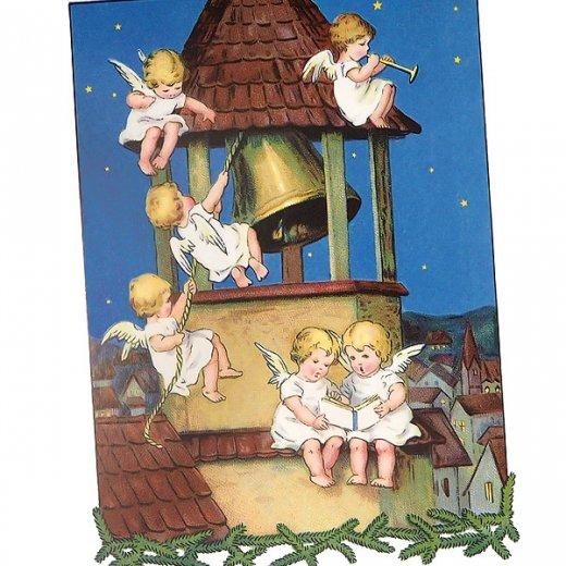 フランス クリスマス ポストカード 教会の鐘と天使 (Les anges et les cloches)【画像2】