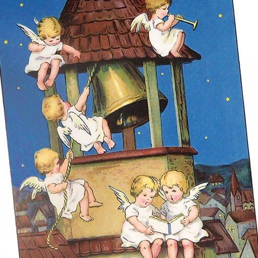 フランス クリスマス ポストカード 教会の鐘と天使 (Les anges et les cloches)【画像3】