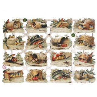 クリスマス(Xmas) 輸入 雑貨 ドイツ クリスマス クロモス【M】小鳥の冬ごもり【ラメ有り/無し】