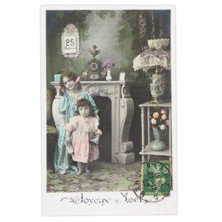 アンティーク フランス 1907年代 アンティーク クリスマス ポストカード【クリスマスの夜】
