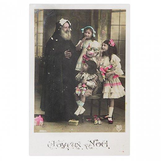フランス 1900年初頭 アンティーク クリスマス ポストカード【サンタクロースと幼子】