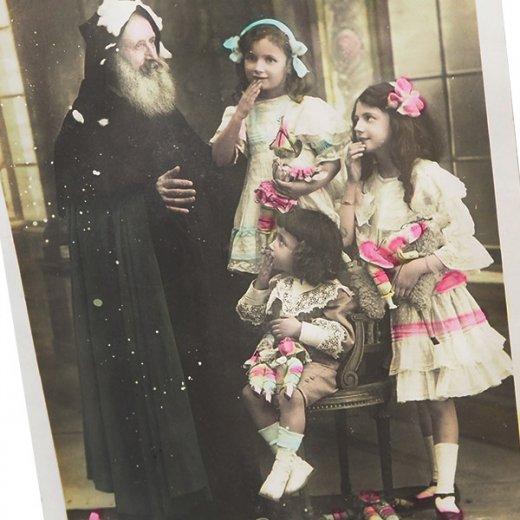 フランス 1900年初頭 アンティーク クリスマス ポストカード【サンタクロースと幼子】【画像3】