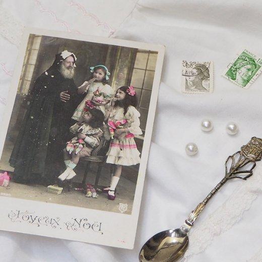フランス 1900年初頭 アンティーク クリスマス ポストカード【サンタクロースと幼子】【画像4】