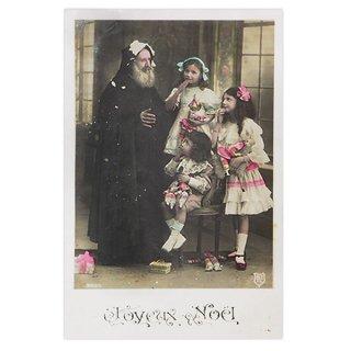 ポストカード フランス 1900年初頭 アンティーク クリスマス ポストカード【サンタクロースと幼子】