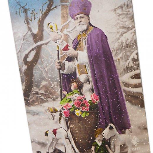 フランス 1900年初頭 アンティーク クリスマス ポストカード【サンタクロース セント・ニコラウス】【画像2】