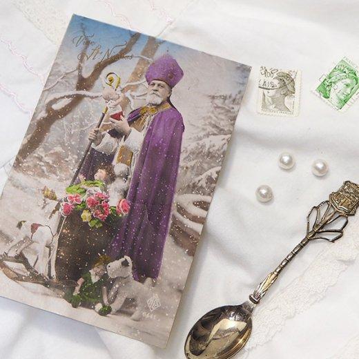 フランス 1900年初頭 アンティーク クリスマス ポストカード【サンタクロース セント・ニコラウス】【画像4】