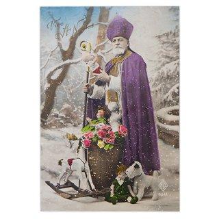 ポストカード フランス 1900年初頭 アンティーク クリスマス ポストカード【サンタクロース セント・ニコラウス】