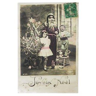 ガーリー & 乙女 アンティーク ヴィンテージ フランス 1912年 アンティーク クリスマス ポストカード【サンタクロースと幼子2】